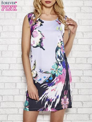 Jasnofioletowa sukienka z malowanym nadrukiem                                  zdj.                                  1