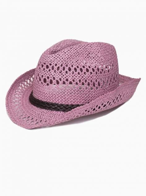Jasnofioletowy damski kapelusz kowbojski z ciemną plecionką                                  zdj.                                  4