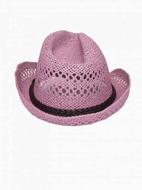 Jasnofioletowy damski kapelusz kowbojski z ciemną plecionką                                  zdj.                                  5