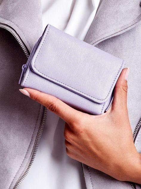Jasnofioletowy portfel damski ze skóry ekologicznej