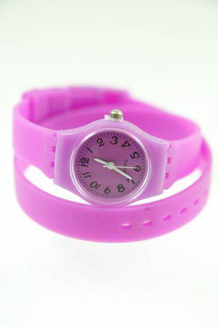 Jasnofioletowy zegarek damski na silikonowym pasku