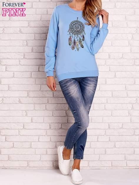Jasnoniebieska bluza z nadrukiem łapacza snów                                  zdj.                                  2