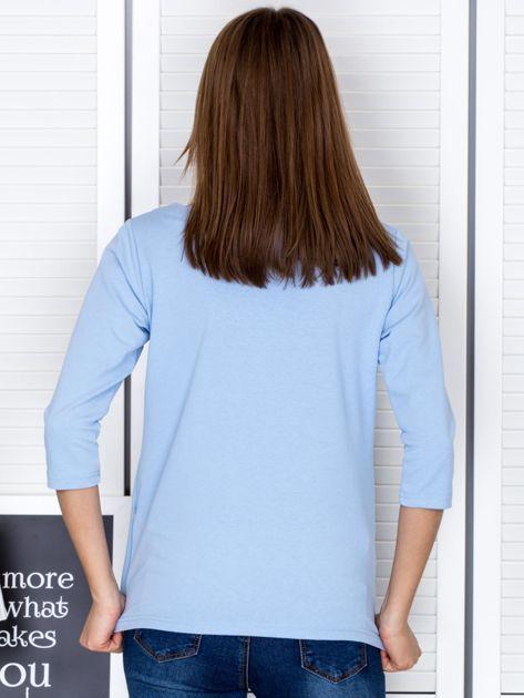 Jasnoniebieska bluzka z bocznymi suwakami                                  zdj.                                  2