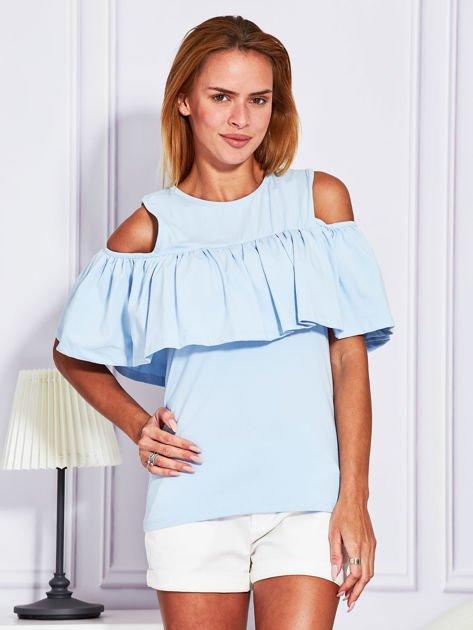 Jasnoniebieska bluzka z falbaną                                  zdj.                                  1