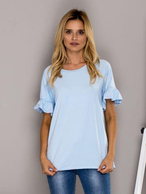 Jasnoniebieska bluzka z falbanami na rękawach                                  zdj.                                  1