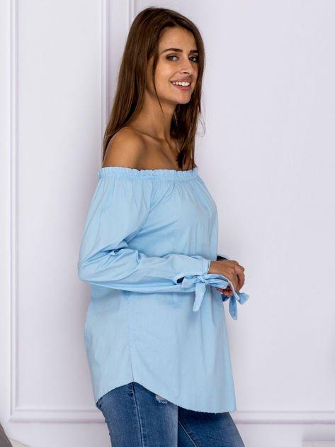 Jasnoniebieska bluzka z wiązaniami na rękawach                                  zdj.                                  3