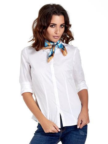 Jasnoniebieska chusta apaszka z kolorowym nadrukiem