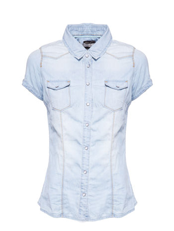 Jasnoniebieska koszula jeansowa z krótkim rękawem