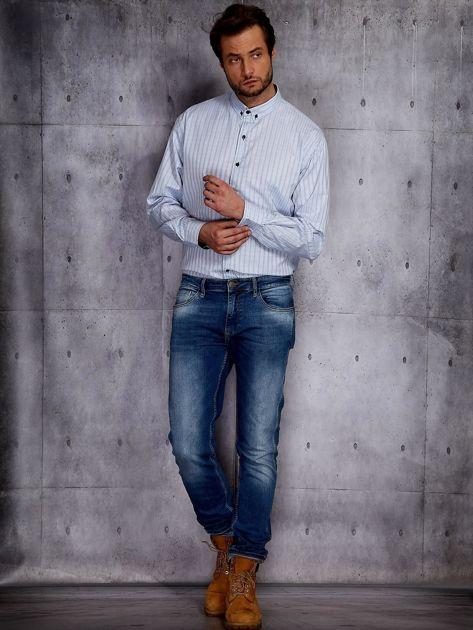 Jasnoniebieska koszula męska w delikatny wzór PLUS SIZE                              zdj.                              4