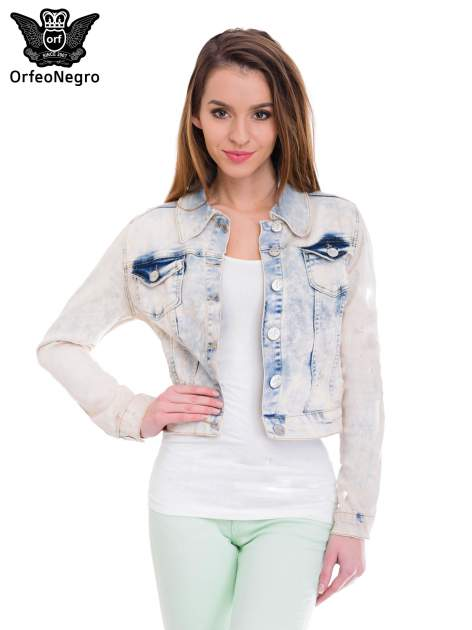 Jasnoniebieska marmurkowa kurtka jeansowa damska                                  zdj.                                  1