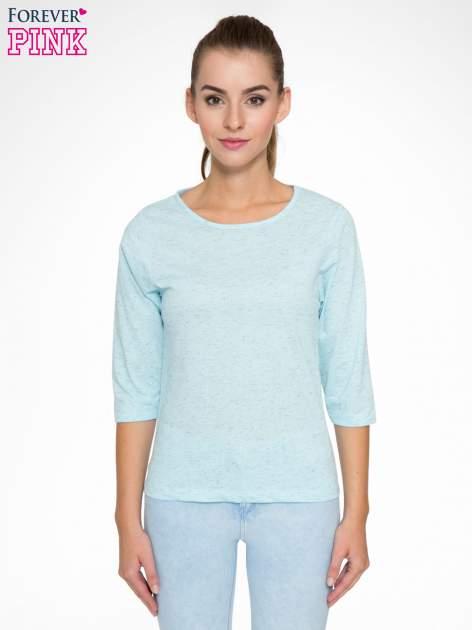 Jasnoniebieska melanżowa bluzka z rękawami 3/4                                  zdj.                                  1