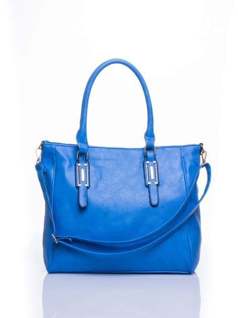 Jasnoniebieska miejska torba z ozdobnymi klamrami                                  zdj.                                  1