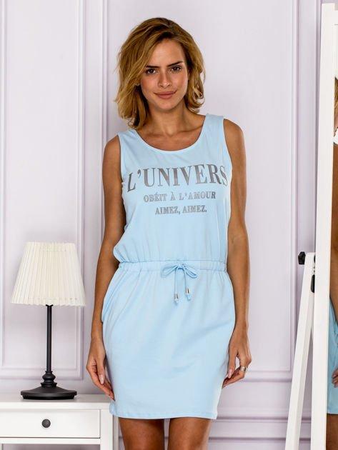Jasnoniebieska sukienka z troczkami                                  zdj.                                  1