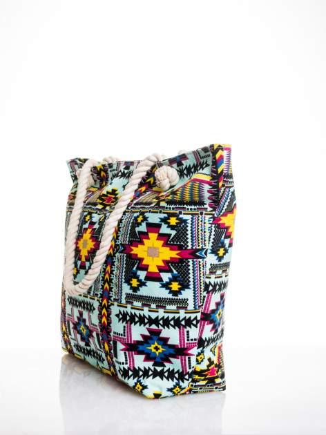 Jasnoniebieska torba plażowa w azteckie wzory                                  zdj.                                  4