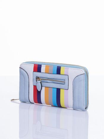 Jasnoniebieski portfel w paski z kieszonką                                  zdj.                                  3