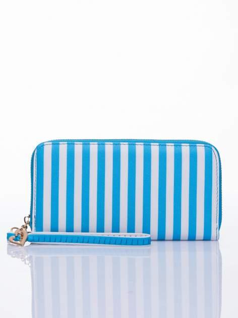 Jasnoniebieski portfel w paski z uchwytem                                  zdj.                                  1