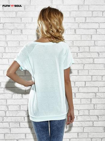 Jasnoniebieski t-shirt z lodowym nadrukiem Funk n Soul                                  zdj.                                  4