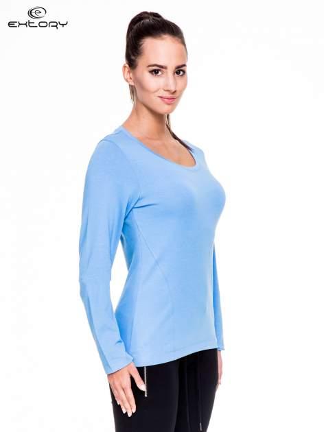 Jasnoniebieskie bluzka sportowa z dekoltem U                                  zdj.                                  3