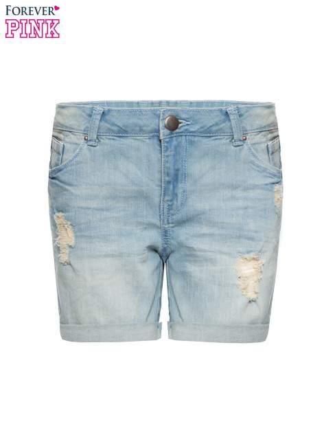 Jasnoniebieskie jeansowe szorty z podwijanymi nogawkami                                  zdj.                                  4