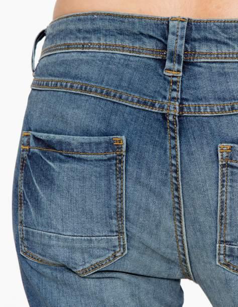 Jasnoniebieskie spodnie jeansowe typu rurki z cieniowaniem                                  zdj.                                  8