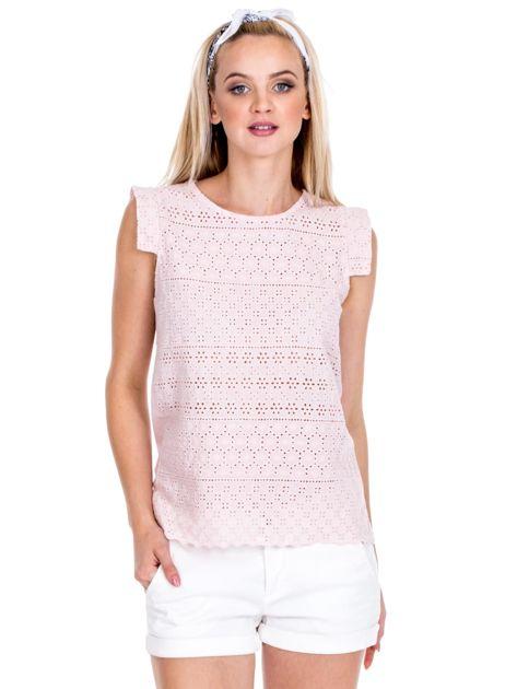 Jasnoróżowa ażurowana bluzka damska                              zdj.                              1