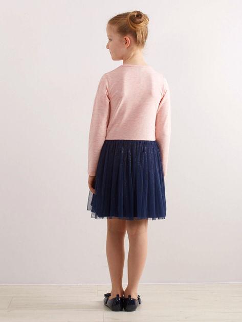 Jasnoróżowa bawełniana sukienka dla dziewczynki                              zdj.                              2