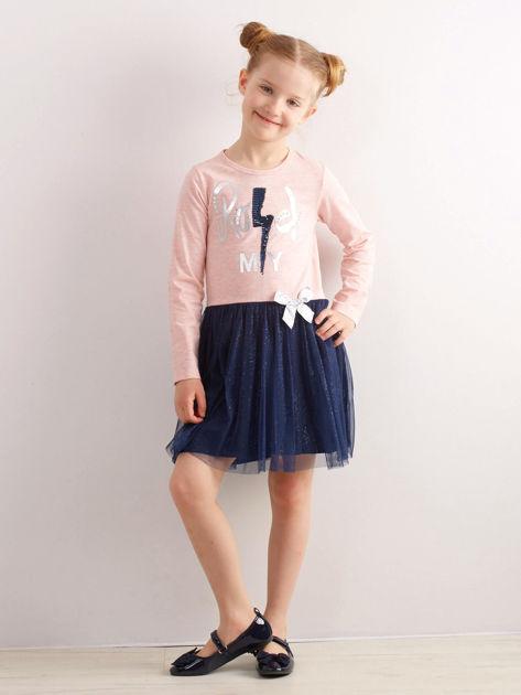 Jasnoróżowa bawełniana sukienka dla dziewczynki                              zdj.                              5