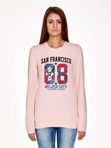 Jasnoróżowa bluza z napisem SAN FRANCISCO