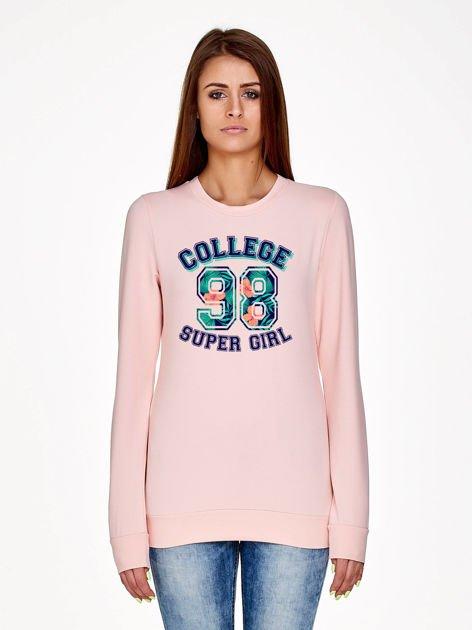 Jasnoróżowa bluza z napisem SUPER GIRL
