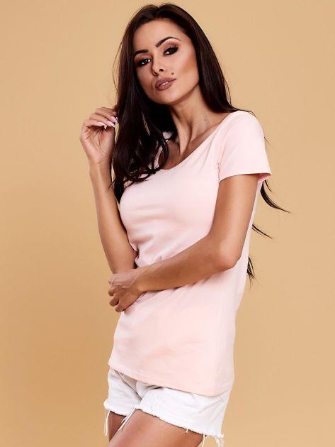Jasnoróżowa bluzka damska z koronkową wstawką                               zdj.                              3
