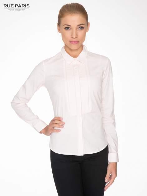 Jasnoróżowa elegancka koszula damska z marszczonym przodem