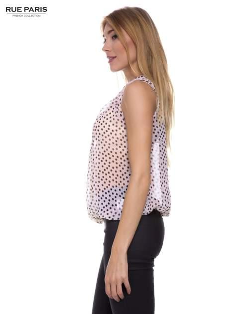 Jasnoróżowa koszula mgiełka w groszki ze skórzaną lamówką przy dekolcie                                  zdj.                                  2