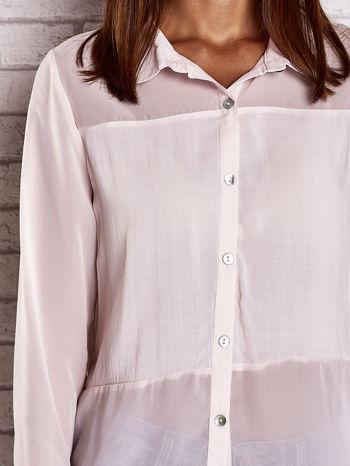 Jasnoróżowa koszula mgiełka z dłuższym tyłem                                  zdj.                                  5