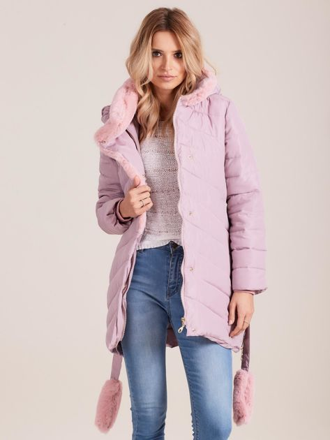 Jasnoróżowa pikowana kurtka zimowa z futerkiem                              zdj.                              6