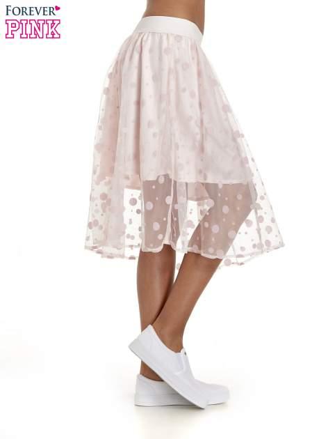 Jasnoróżowa spódnica z tiulową warstwą w groszki                                  zdj.                                  3