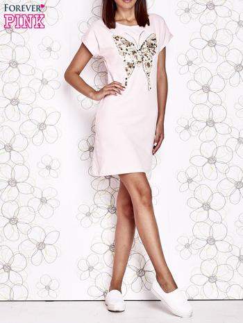 Jasnoróżowa sukienka z cekinowym motylem                                  zdj.                                  6