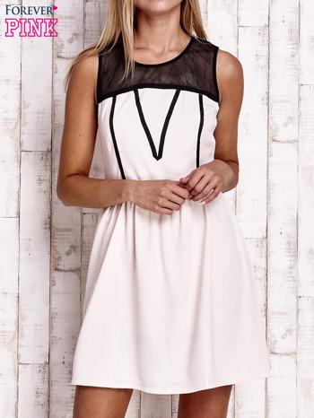 Jasnoróżowa sukienka z siateczkową górą                                  zdj.                                  1