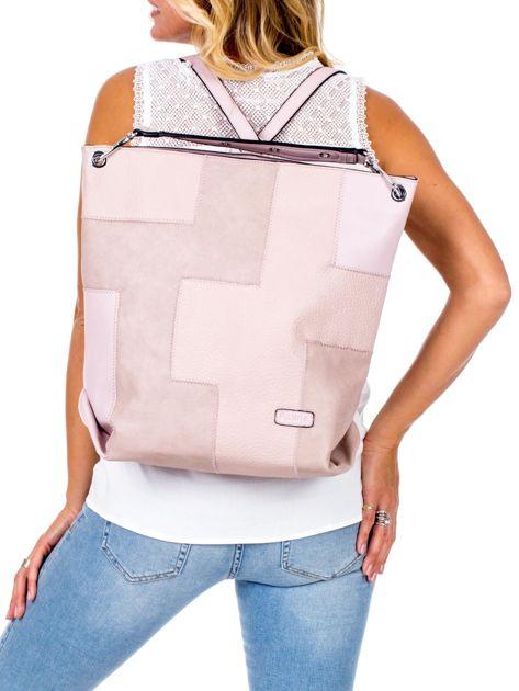 Jasnoróżowa torba-plecak z odpinanymi szelkami                              zdj.                              2