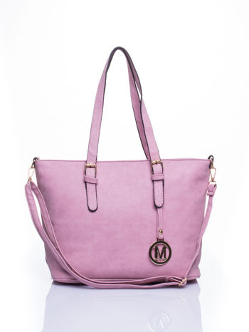 Jasnoróżowa torba shopper bag z zawieszką