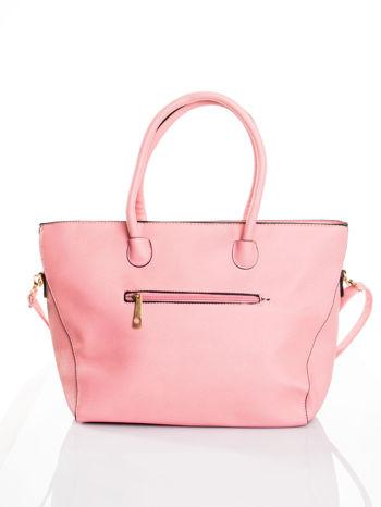 Jasnoróżowa torba shopper efekt saffiano                                  zdj.                                  2