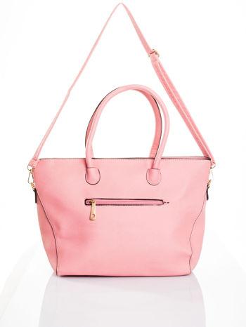 Jasnoróżowa torba shopper efekt saffiano                                  zdj.                                  5