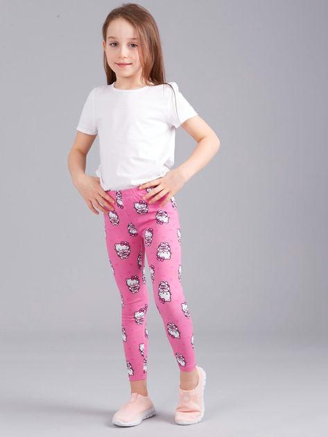 Jasnoróżowe legginsy dziewczęce z nadrukiem HELLO KITTY                              zdj.                              4