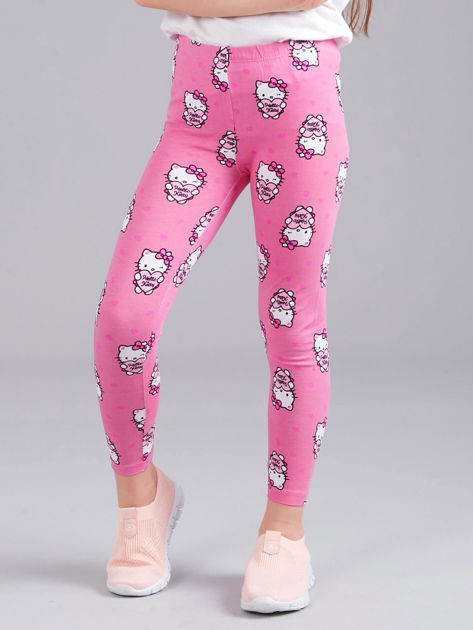 Jasnoróżowe legginsy dziewczęce z nadrukiem HELLO KITTY                              zdj.                              1