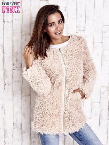Jasnoróżowy futrzany sweter kurtka na suwak                                  zdj.                                  1