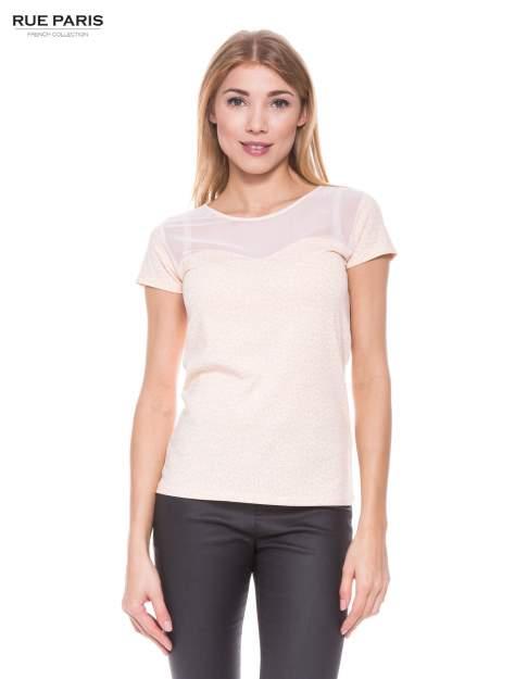 Jasnoróżowy panterkowy t-shirt z transparentnym karczkiem