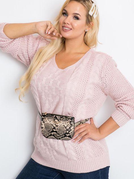 Jasnoróżowy sweter plus size Flower                              zdj.                              1