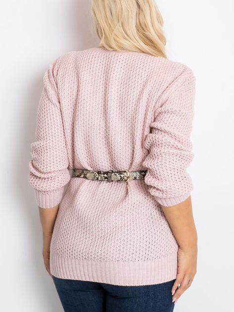 Jasnoróżowy sweter plus size Flower                              zdj.                              2
