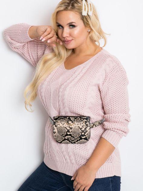 Jasnoróżowy sweter plus size Latte                              zdj.                              3
