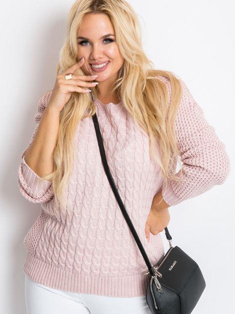 Jasnoróżowy sweter plus size Now                               zdj.                              2