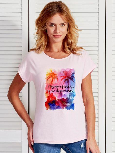 Jasnoróżowy t-shirt damski PALMY I PLAŻA by Markus P                                  zdj.                                  1